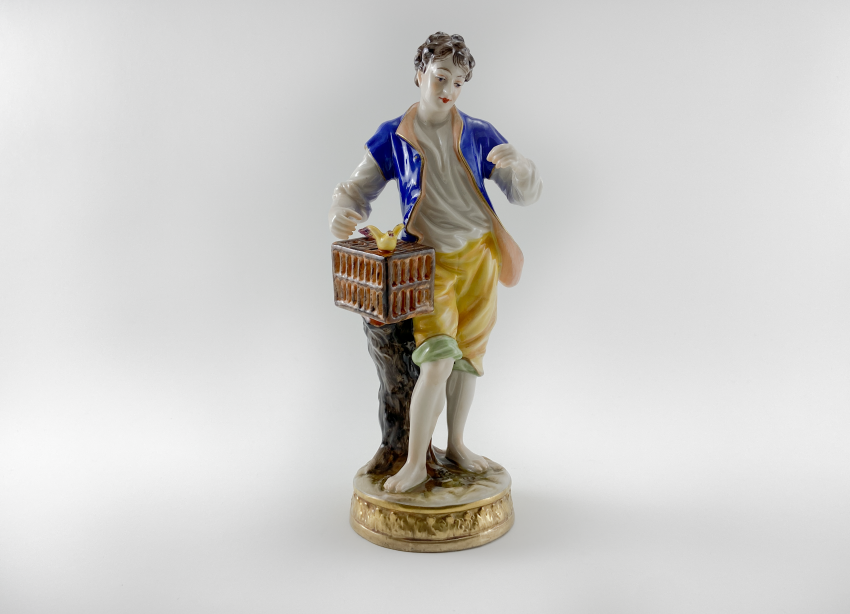 """Porcelain figurine of a """"Birder"""", Germany, Volkstedt, perfect condition, 1945 - 1951 - photo 1"""