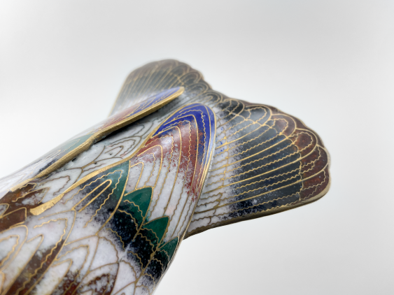 """Figurine """"pileated Parrot"""". China, enamel, handmade, the second half of the 20th century. - photo 4"""