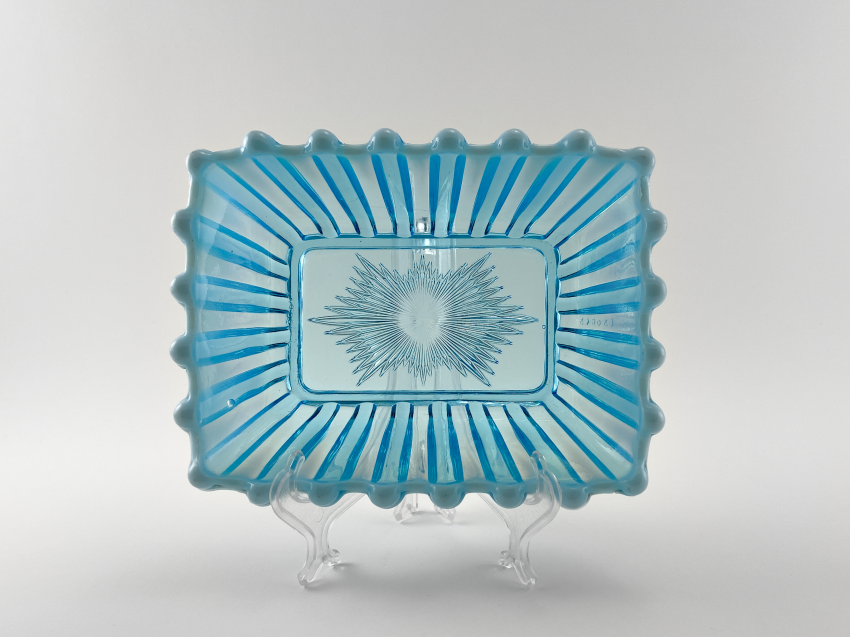Vase of pressed colored glass, England, the company is Davidson, perfect condition, 1889 - photo 1