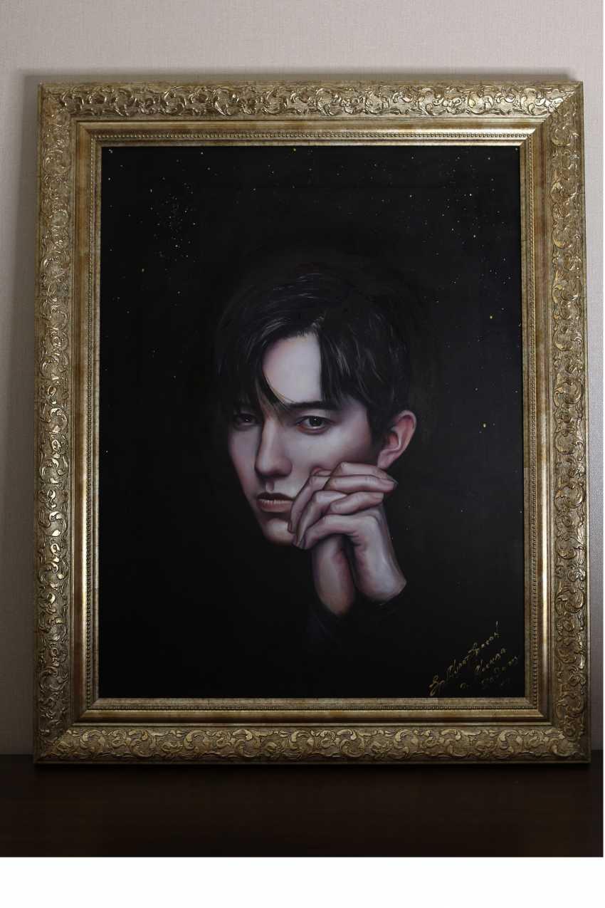 Ermurat Yerhasan. Original oil painting Portrait Dimash Kudaibergenova - photo 1