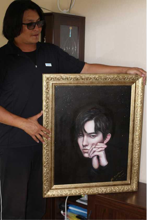 Ermurat Yerhasan. Original oil painting Portrait Dimash Kudaibergenova - photo 2