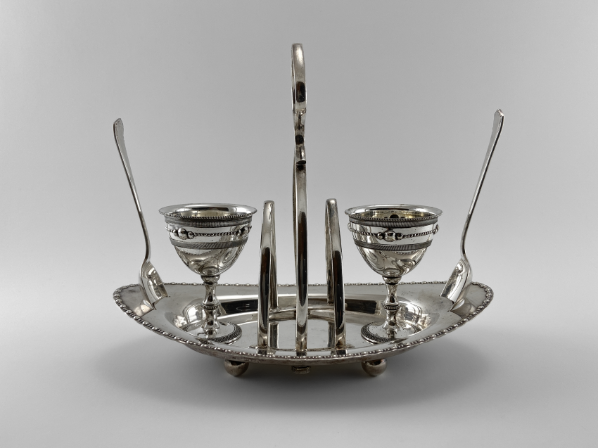 "Stand for eggs ""Duet."" England, art Nouveau, Silver, 1920 - photo 1"