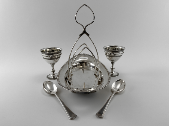 "Stand for eggs ""Duet."" England, art Nouveau, Silver, 1920 - photo 2"