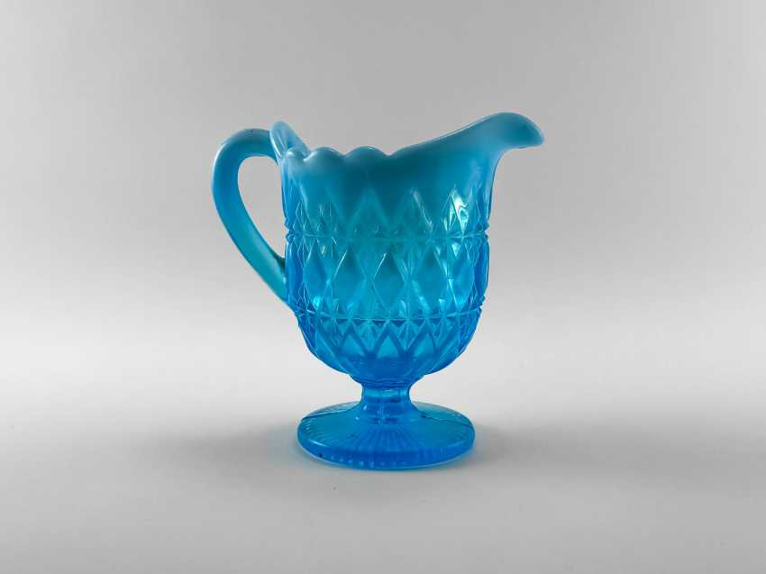 The milkman of colored glass aquamarine, England, the company is Davidson, perfect condition, 1890. - photo 3