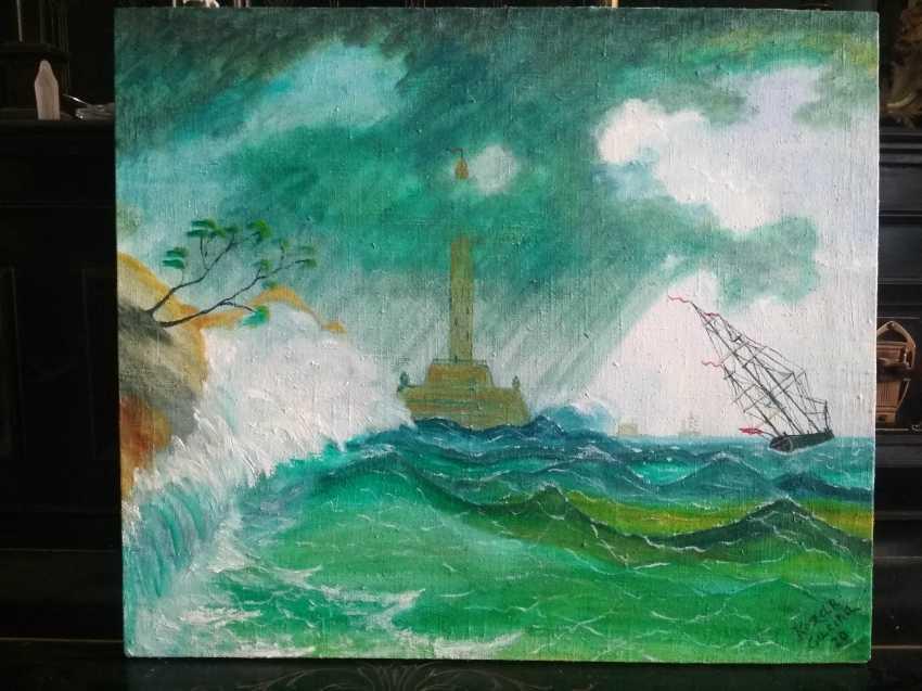Elena Kozar-Gurina. Storm at sea near the lighthouse. Storm at sea near the lighthouse. - photo 1