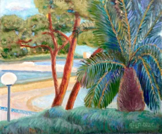Alla Senatorova. Palm and pine on the waterfront in Bulle. - photo 1