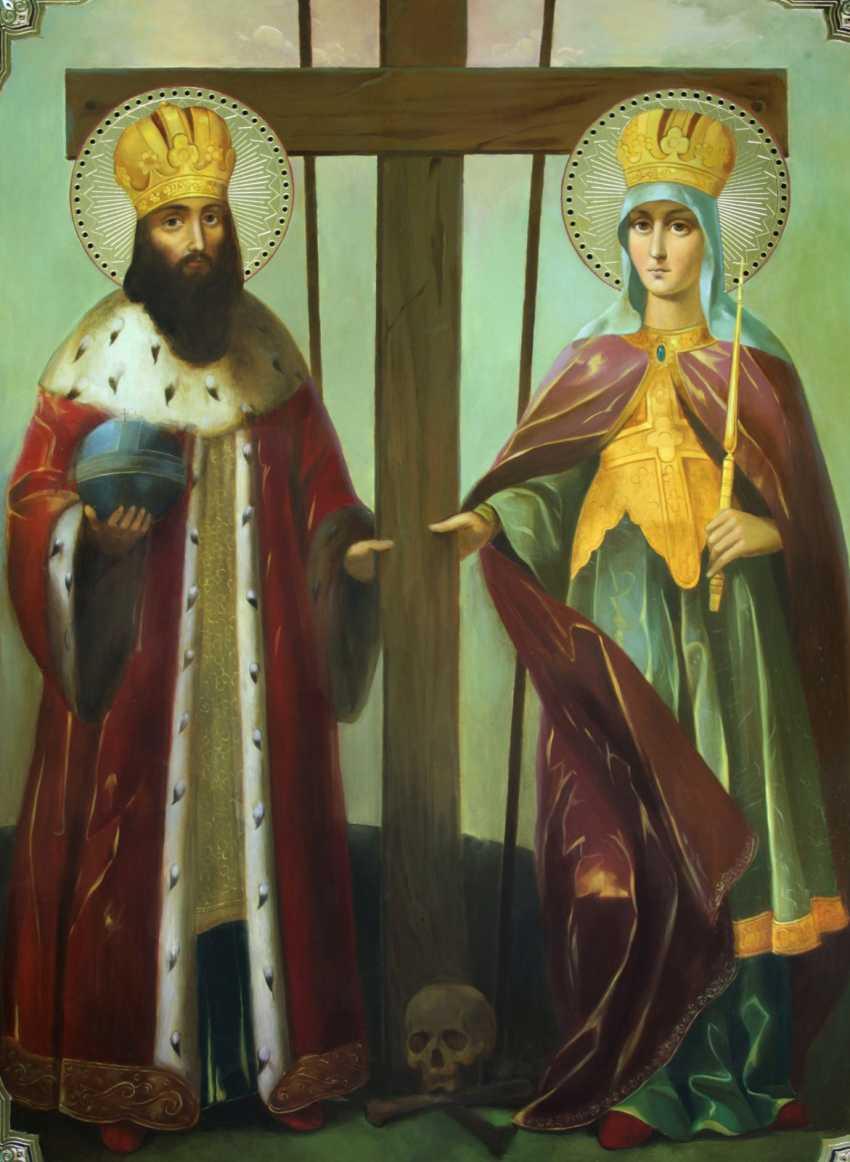 Lilia Kovalenko. Saints Constantine and Elena, Anthony and Theodosius of the caves, Sergius of Radonezh and Seraphim of Sarov, Cyprian and Yustiniya - photo 1