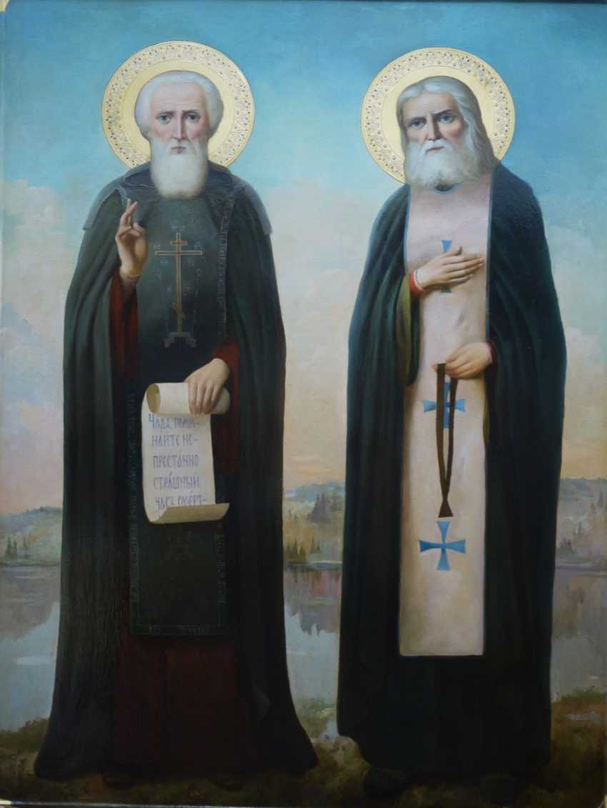 Lilia Kovalenko. Saints Constantine and Elena, Anthony and Theodosius of the caves, Sergius of Radonezh and Seraphim of Sarov, Cyprian and Yustiniya - photo 3