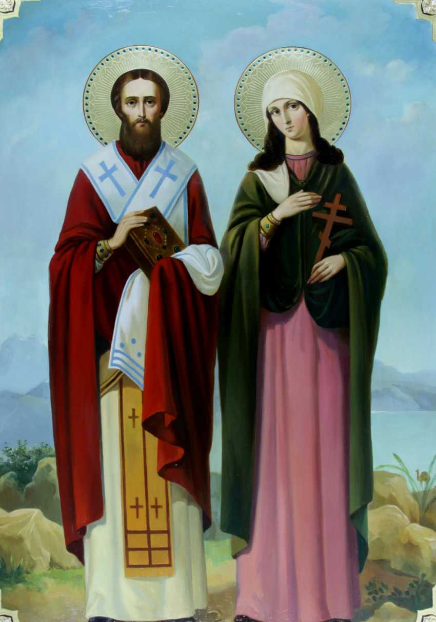 Lilia Kovalenko. Saints Constantine and Elena, Anthony and Theodosius of the caves, Sergius of Radonezh and Seraphim of Sarov, Cyprian and Yustiniya - photo 4