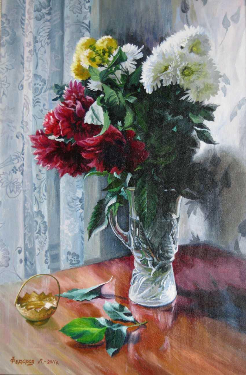 Leonid Fedorov. Dahlias in a crystal vase - photo 1
