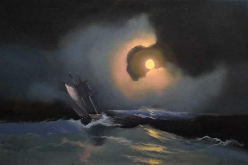 Lilita Salimova. A storm on the sea on a moonlit night - photo 2
