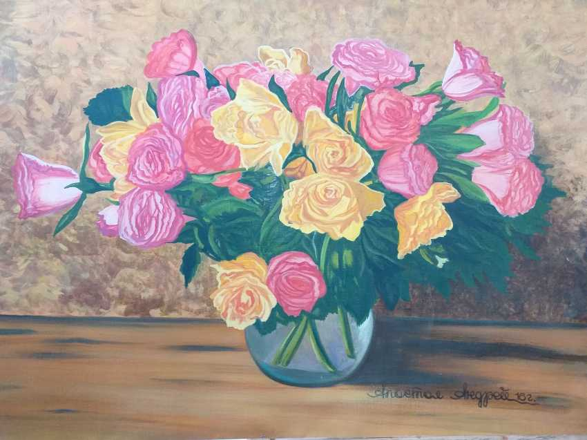 Denis Denisov. Bouquet of peonies in a white vase - photo 3