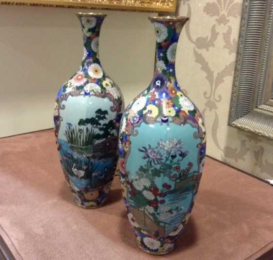 Pair of Japanese vases 18th century , enamel - photo 1
