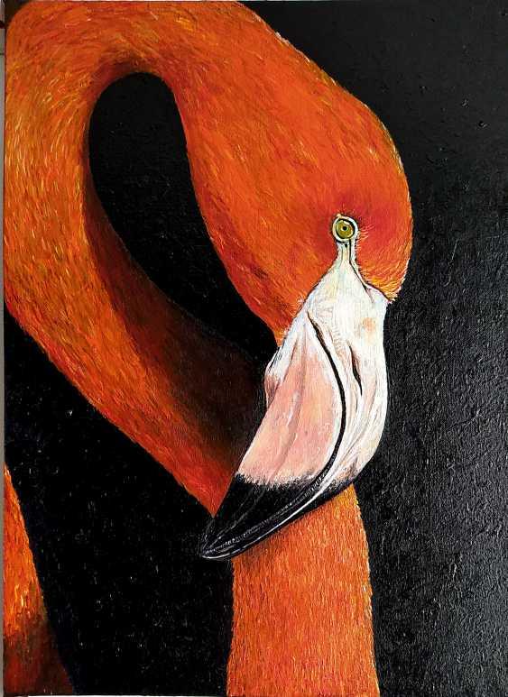 Kristina Degtyareva. Flamingo painting on canvas Orange bird art Gift for bird lovers - photo 1