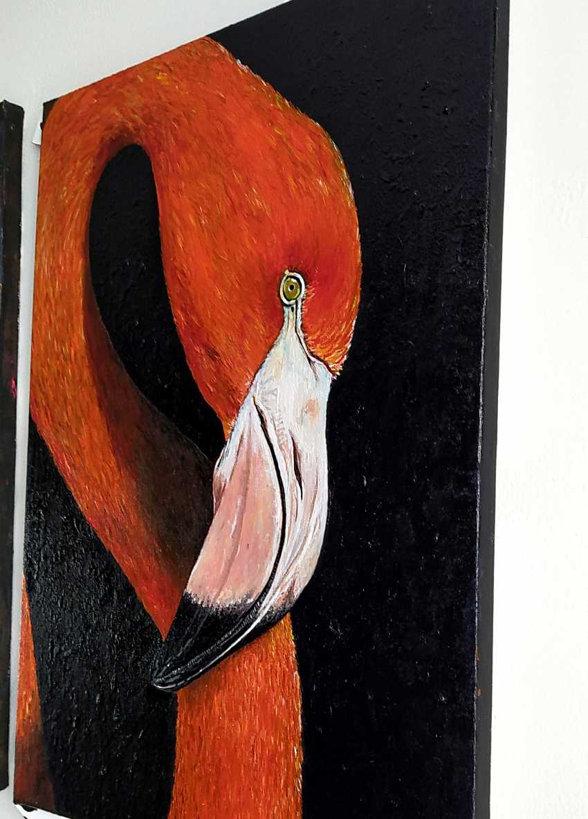Kristina Degtyareva. Flamingo painting on canvas Orange bird art Gift for bird lovers - photo 2
