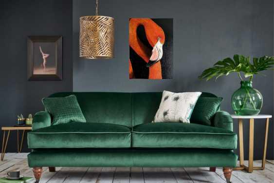 Kristina Degtyareva. Flamingo painting on canvas Orange bird art Gift for bird lovers - photo 4