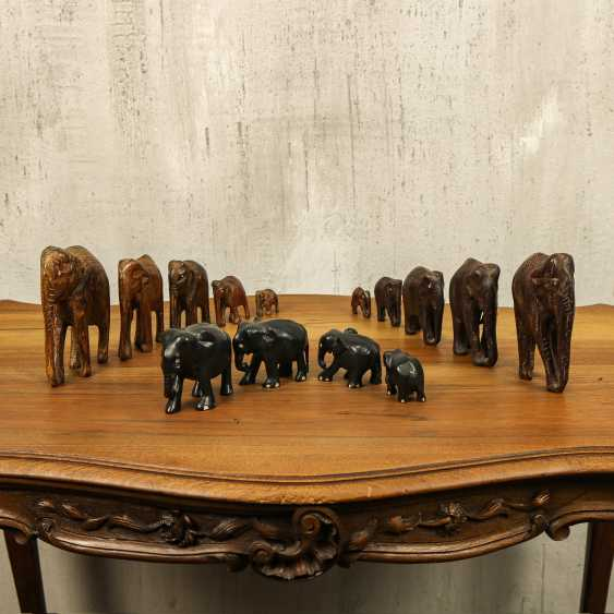 Antique collection of elephants of three types - photo 1