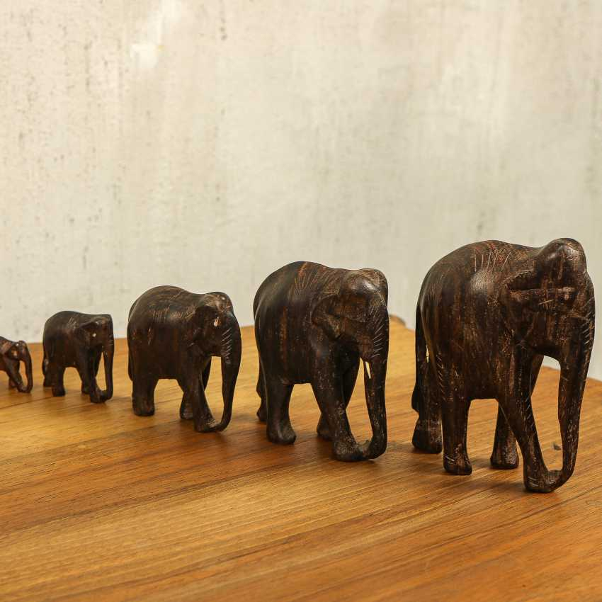 Antique collection of elephants of three types - photo 7