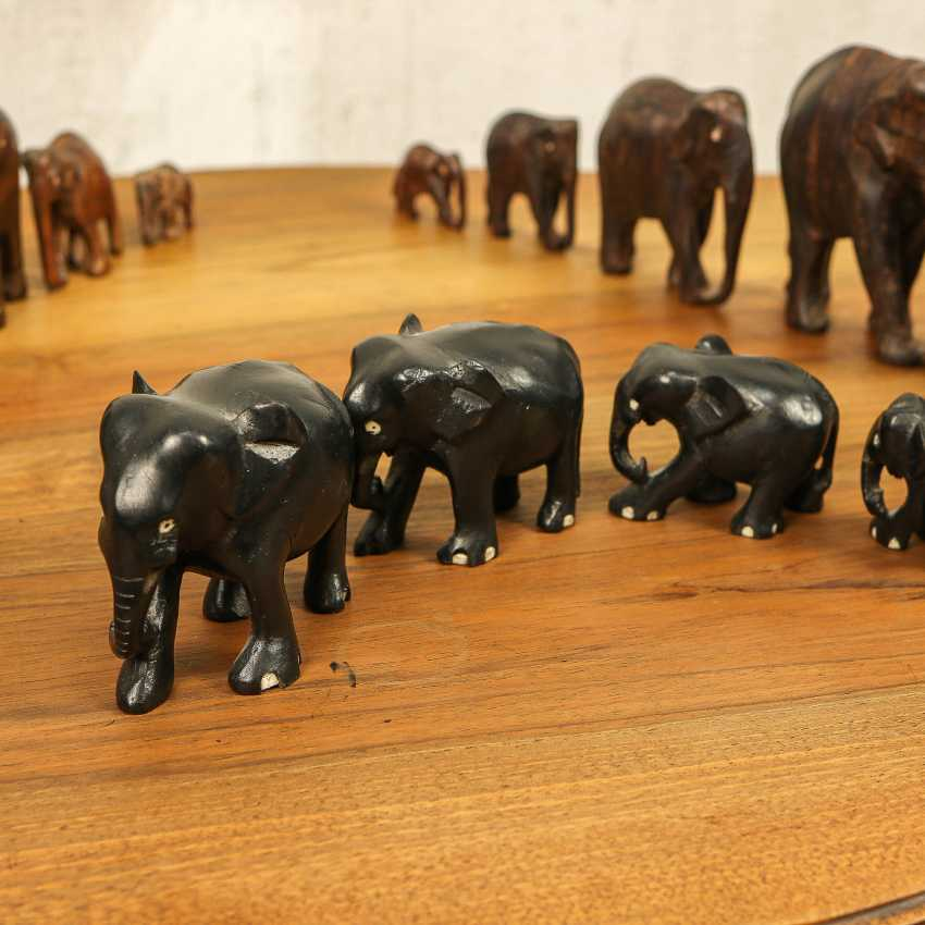 Antique collection of elephants of three types - photo 8