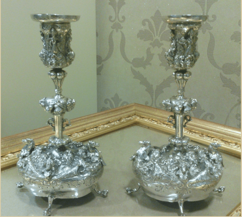 Pair of candlesticks in a neo-Baroque style - photo 1