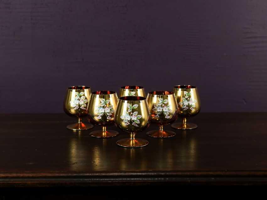 Antique set of 6 cognac glasses - photo 1