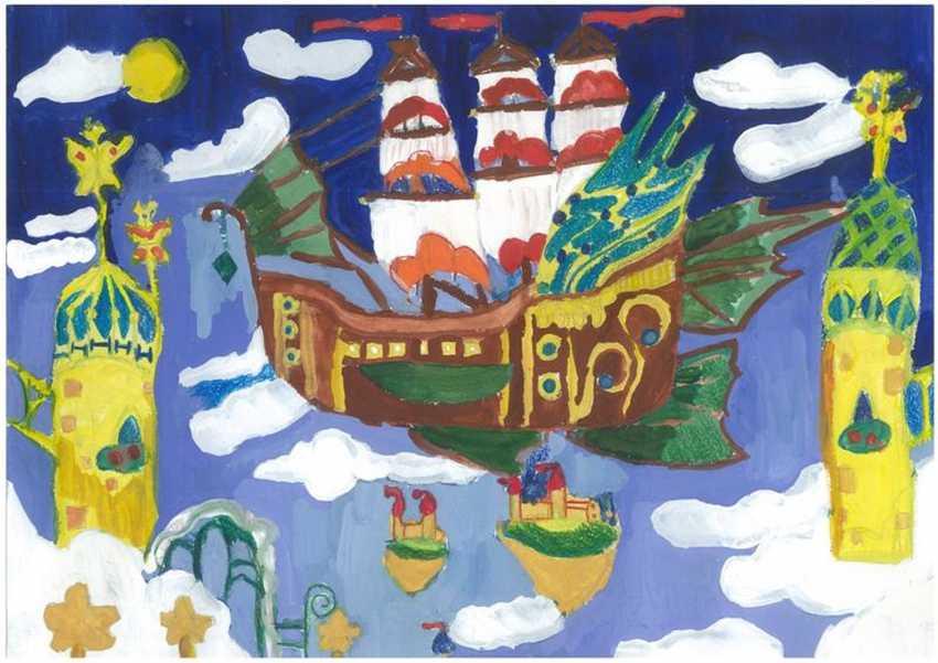 Olga Chernova. Ship. Inexpensive painting. Picture. Flying ship. Sail. Interior. - photo 1