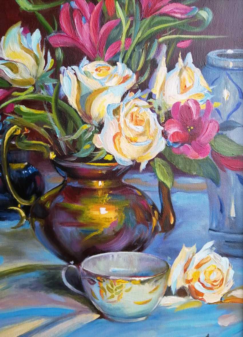 "Natalya Parshina. ""Nature morte avec des roses et une tasse"" - photo 4"