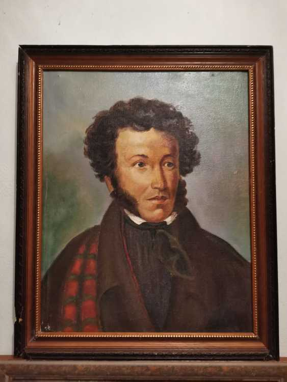 Antique painting Russia. Portrait of AS Pushkin - photo 1