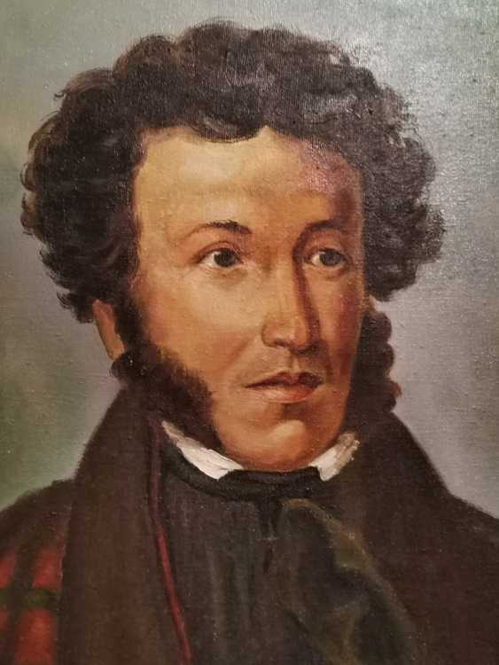 Antique painting Russia. Portrait of AS Pushkin - photo 2