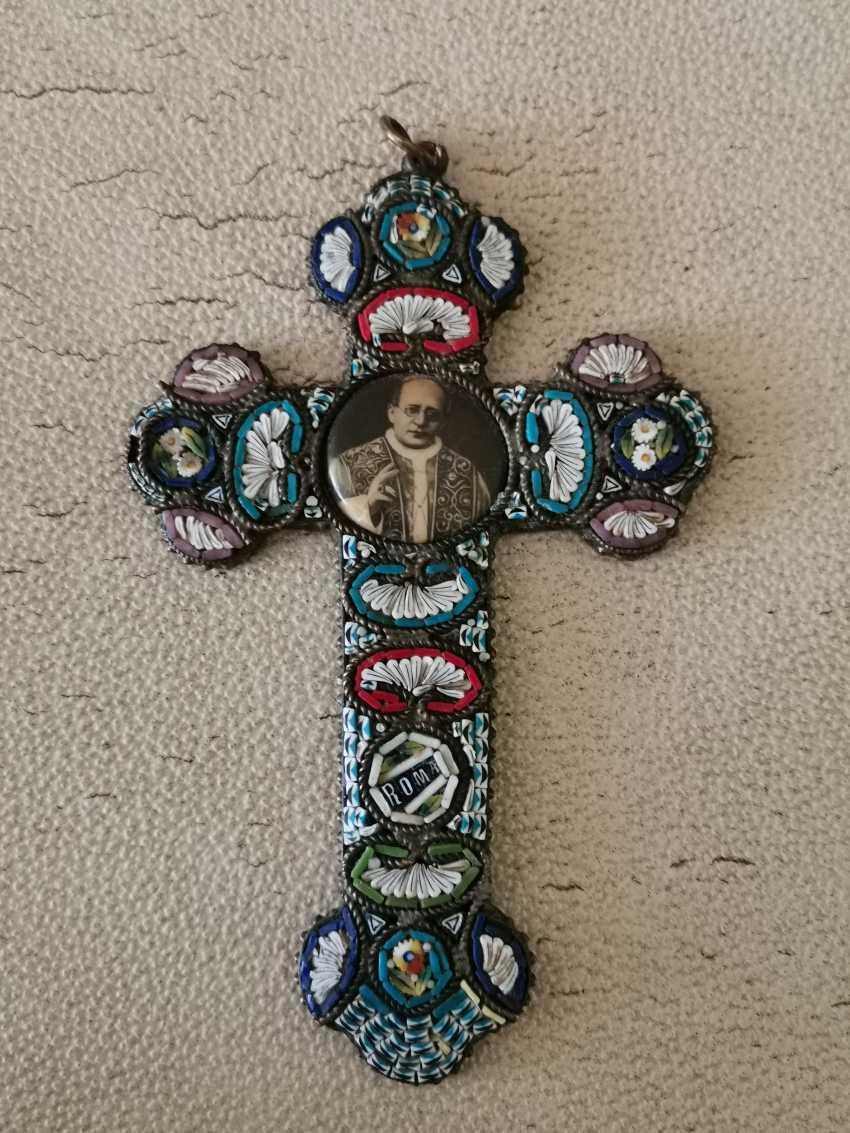 Antique bronze crucifix. Milefiori mosaic - photo 1