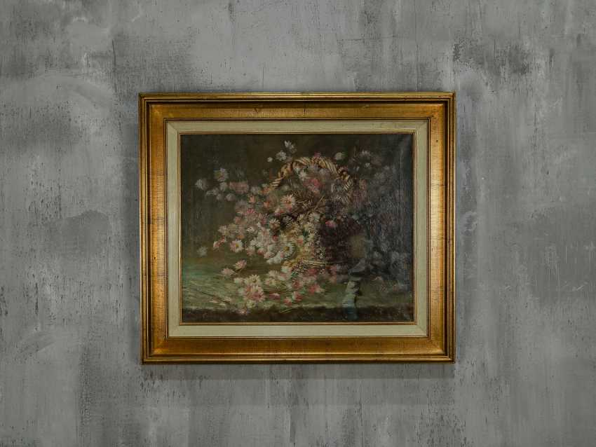 "Antique painting ""Basket with forget-me-nots"" - photo 1"