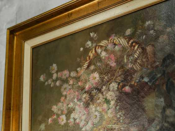 "Antique painting ""Basket with forget-me-nots"" - photo 7"
