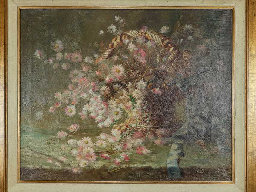 "Antique painting ""Basket with forget-me-nots"" - photo 9"