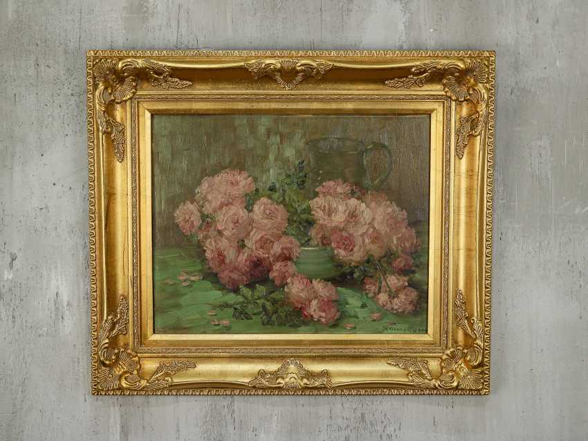 """Antique painting """"Garden roses and a jug"""" - photo 1"""