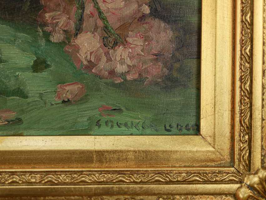 """Antique painting """"Garden roses and a jug"""" - photo 3"""