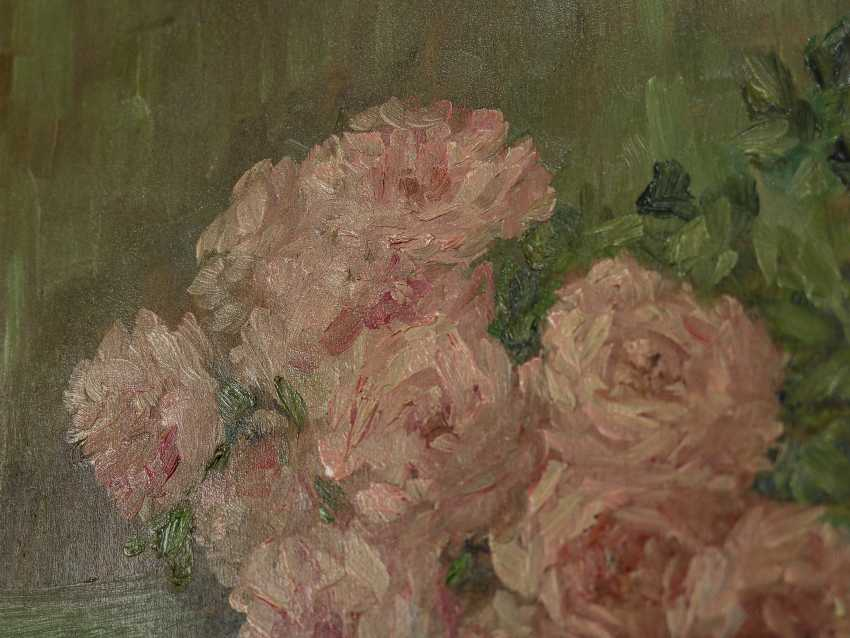 """Antique painting """"Garden roses and a jug"""" - photo 6"""