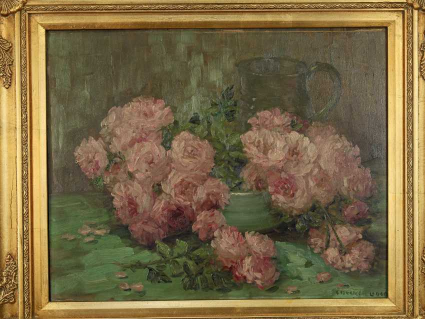 """Antique painting """"Garden roses and a jug"""" - photo 7"""