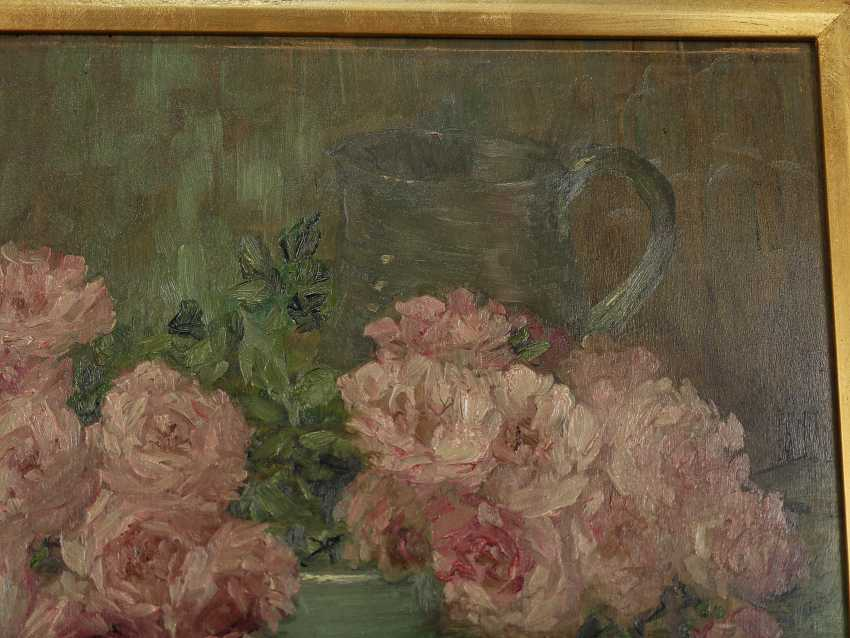 """Antique painting """"Garden roses and a jug"""" - photo 8"""