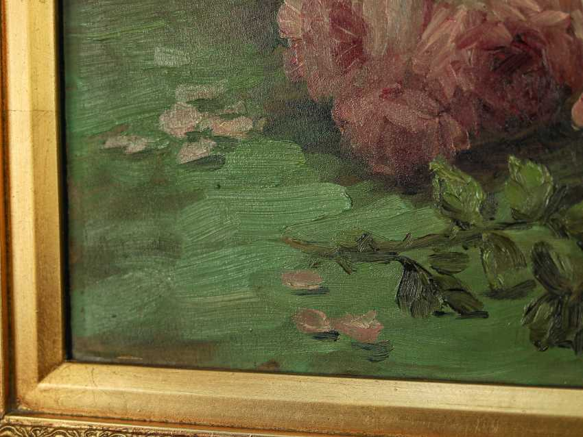 """Antique painting """"Garden roses and a jug"""" - photo 9"""