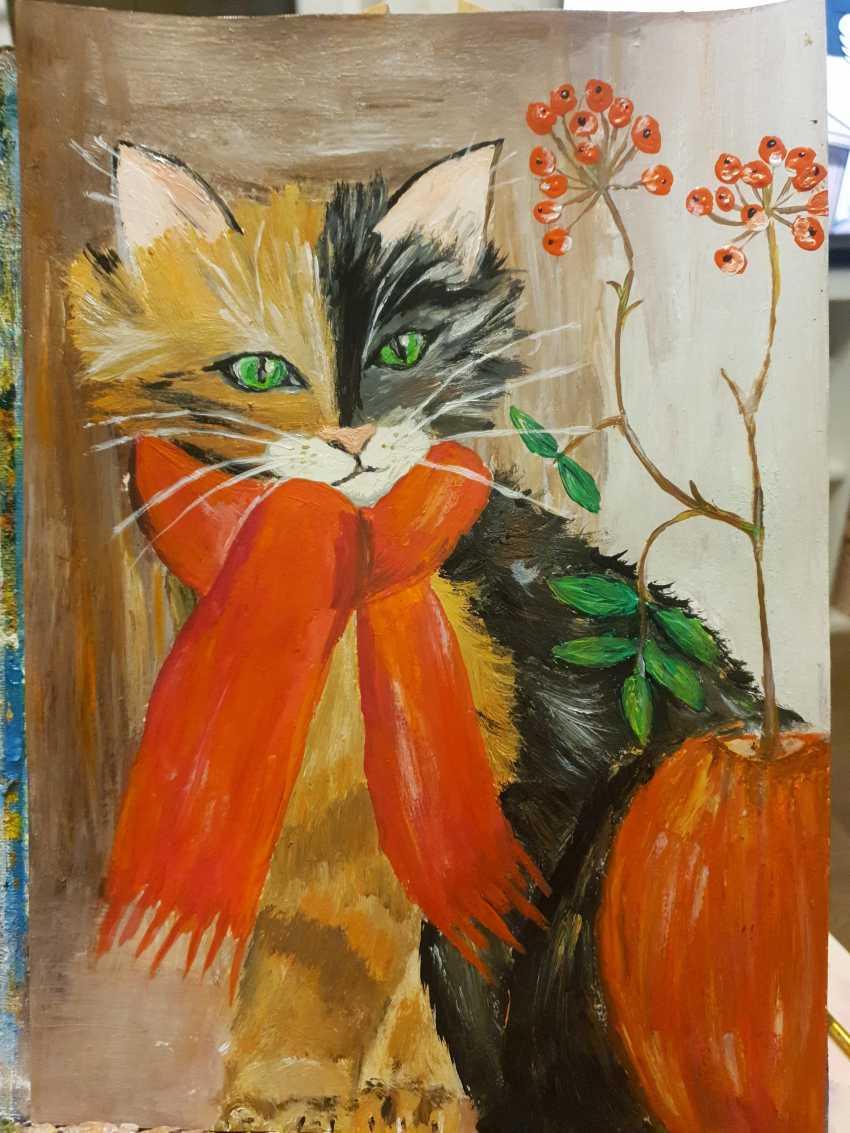 Natasha Matishak. Cat and orange scarf - photo 1