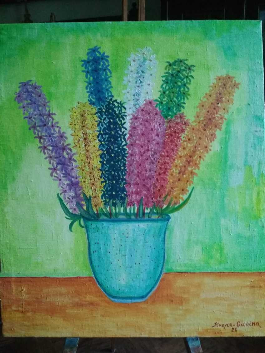 Elena Kozar-Gurina. Цветы гиацинты в голубой вазе. Giacinth flowers in a blue vase. - photo 1