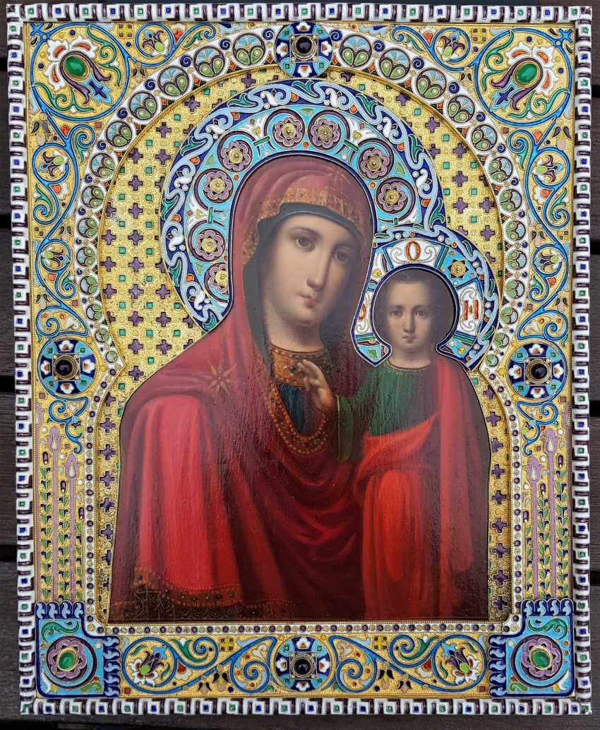 Icon of the Mother of God of Kazan. Silver frame with enamel. - photo 1