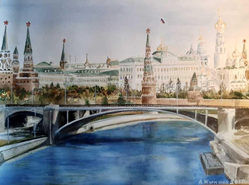 """Alexandra Zhurkina. Autorenaquarell """"Blick auf den Kreml von der Steinbrücke"""" - Foto 1"""