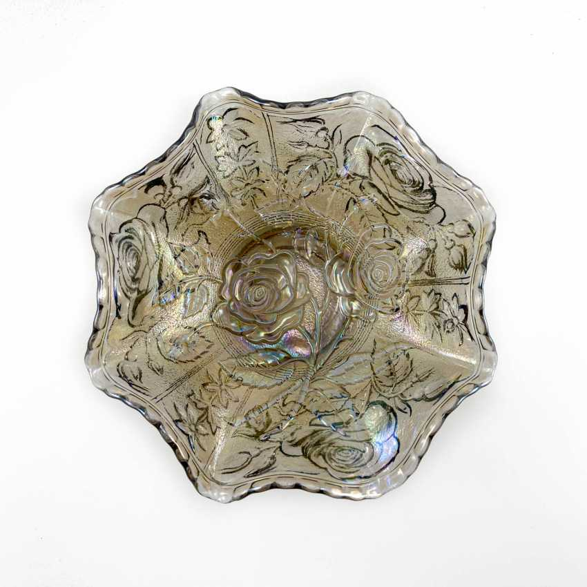 """Serving plate """"Luster Rose"""". USA, Imperial, carnival glass, handmade, 1906-1920 - photo 1"""