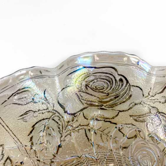 """Serving plate """"Luster Rose"""". USA, Imperial, carnival glass, handmade, 1906-1920 - photo 3"""