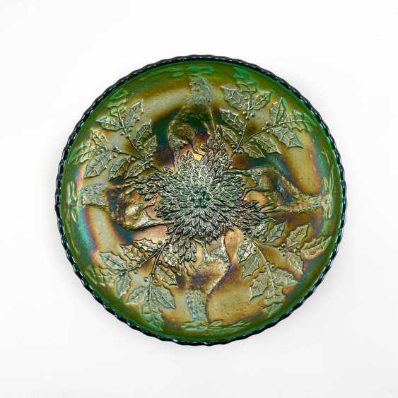 "Serving plate ""Stag & Holly"". USA, Fenton, carnival glass, handmade, 1907-1920 - photo 1"
