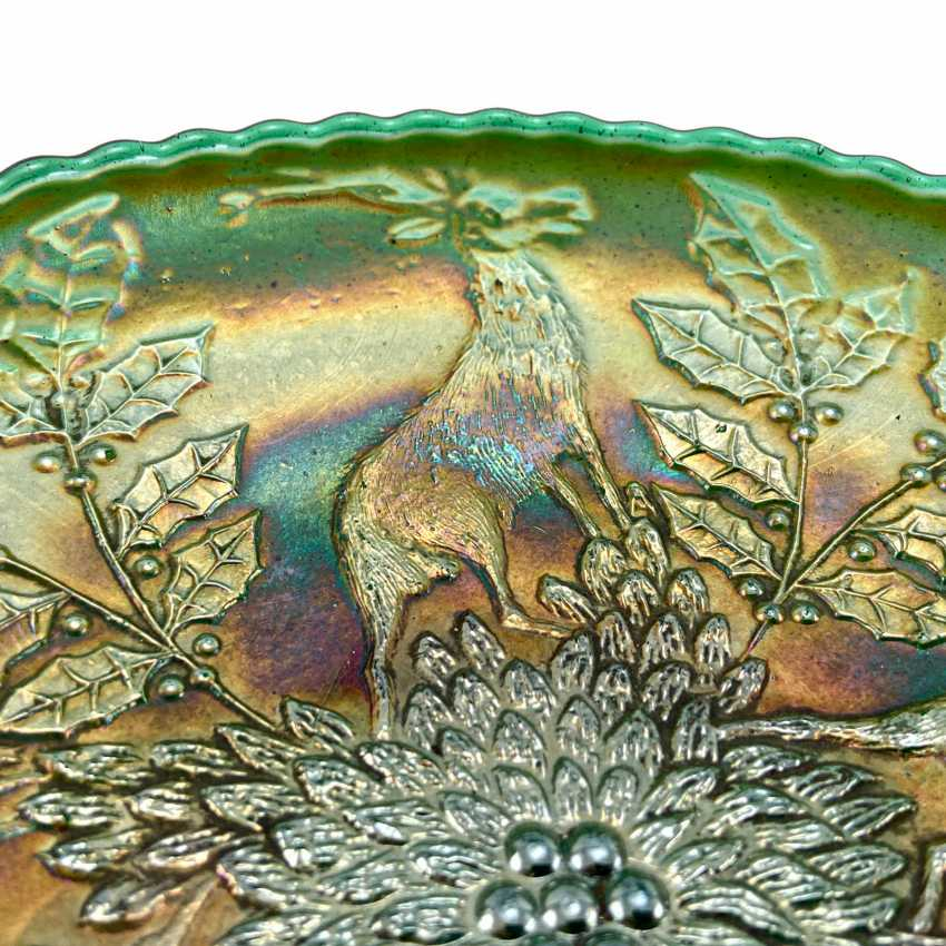 "Serving plate ""Stag & Holly"". USA, Fenton, carnival glass, handmade, 1907-1920 - photo 3"