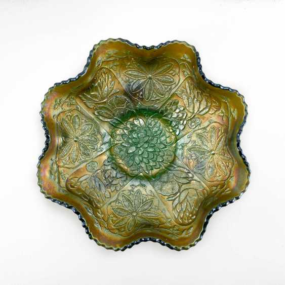 "Serving plate ""Lotus and Poinsettia"". USA, Fenton, handmade, 1906-1920 - photo 1"