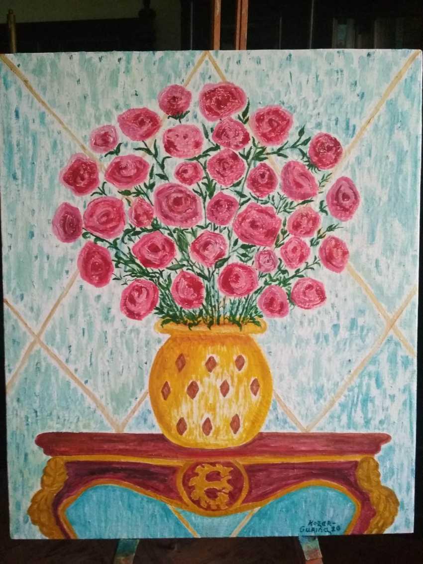 Elena Kozar-Gurina. Цветы Малиновые розы в антикварном интерьере. Flowers crimson roses in an antique interior. - photo 1