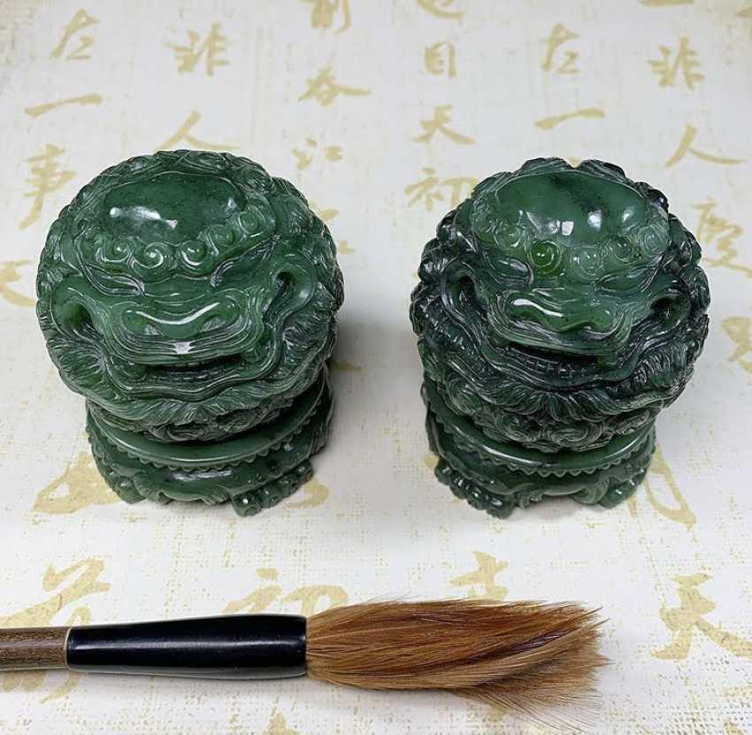 Alexander Tatarov. Zwei Jadelöwen (Nephrit) - Foto 2